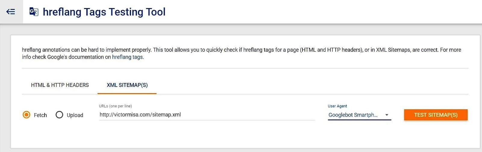 Herramienta de testeo de hreflang en Sitemap