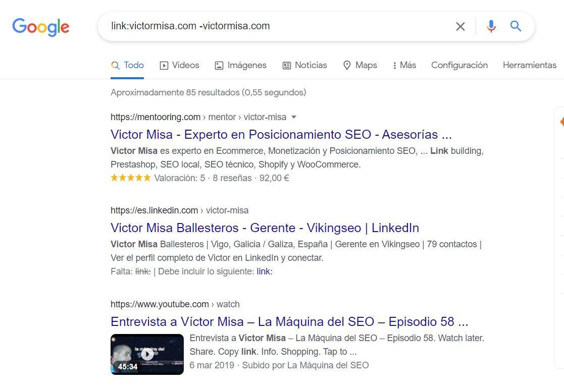 Comando link en Google